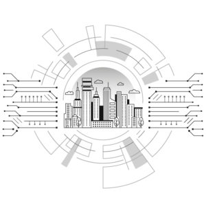 Black and white illustration of a metropolis inside of a computer design. Writers Arcanum - Purchase Business Writing