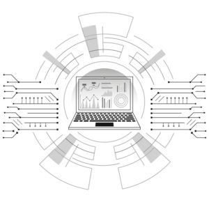 Black, white, and gray illustration of a laptop inside of a computer design. Writers Arcanum -