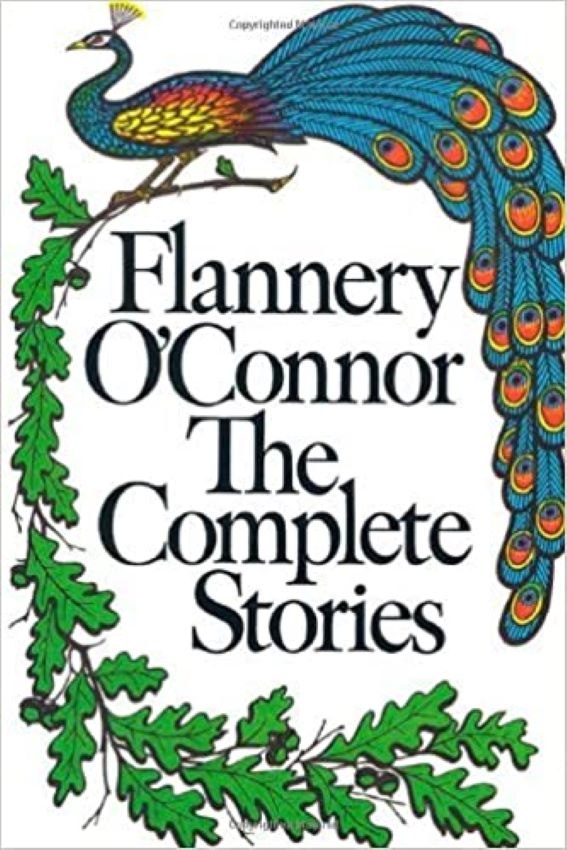White bookcover with greenery and an exotic bird. Writers Arcanum - The Complete Stories by Flannery O'Connor